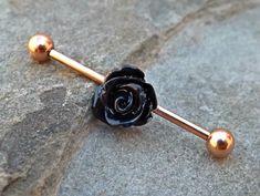 Rose Gold Industrial Black Rose Barbell 14ga Body Jewelry Ear Jewelry Double Piercing Upper Ear