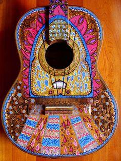 boho guitar Guitar Painting, Guitar Art, Ukulele, Cigar Box Guitar, Right Brain, Guitar Design, Boho, Bohemian Style, Musical Instruments