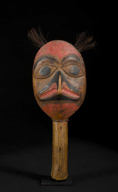 A Superb 19th C. Tlingit Eagle-head Shaman's Rattle