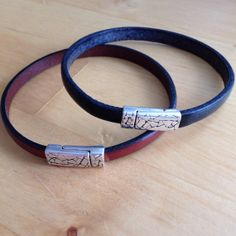 Leather Bracelet Simple Elegant Stackable in Your Choice of Black or Brown by LoveThatLeather
