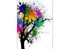 Tree painting. Forest WALL ART. Home Decor. Tree illustration.