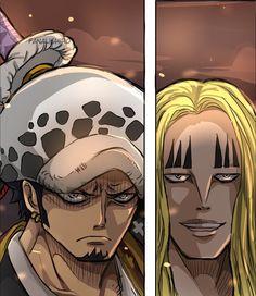 Law and Hawkins (One Piece CH. by FanaliShiro on DeviantArt Manga Anime, One Piece Photos, Devian Art, One Piece Fanart, Trafalgar Law, Iconic Characters, Sexy, Art Pieces, Fan Art
