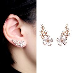EVERU Pair Women's Bling Crystal Rose Gold Flower Earrings Pierced Wrap Ear Cuff Stud Earrings -- You can find more details by visiting the image link.