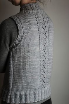 "Nordic Trail Vest: easy seamless vest knitting pattern featuring lace panels and uses bulky-weight yarn (shown in Malabrigo's ""Chunky"" yarn)"
