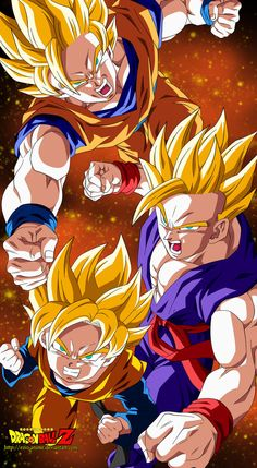 SSJ Goku, SSJ Gohan and SSJ Goten. Wonder what time period this is. it seems like before Second coming but Goku doesn't have the halo. It could be before the Majin Buu arc but I can't tell. Otaku Anime, Manga Anime, Dragon Ball Gt, Itachi, Naruto, Gohan And Goten, Goku 2, Manga Dragon, Goku Dragon