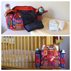 Ixchel triangle diaper bag with detachable corte changing pad.