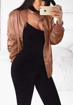 Lookin' for the perfect jacket this season? Grab this pretty rose gold satin bomber jacket.