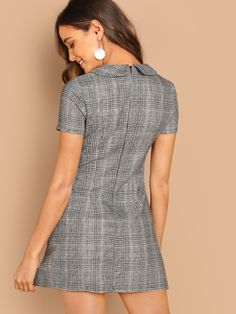 Discover our wide range of with color blocks at CUTESPREE. Black And White Short Dresses, Peter Pan Collar Dress, Dress With Collar, Recycled Dress, Short Sleeve Dresses, Dresses With Sleeves, Sheath Dresses, Frocks For Girls, Plaid Dress