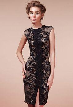 Коктейльное платье из кружева чёрное | Dress from lace black