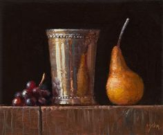 Oil paintings by Abbey Ryan. Silver cup with grapes.