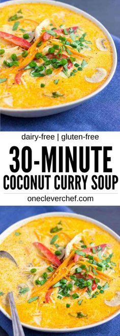 This Coconut Curry Chicken Soup with Quinoa is easy to make, healthy and ready in under 30 minutes. King of the thai comfort foods, this delicious red curry soup is full of veggies, gluten-free, and can be made paleo, vegan and low-carb with a few simple ingredient swaps.