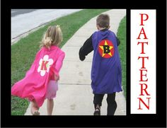 Super Hero Cape Pattern, No Sew Costume, eBook, Includes Lots of Applique Patterns and Three Alphabet Sets, 20 minute project. $10.00, via Etsy.