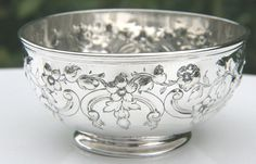 Antique victorian sterling silver repousse footed bowl hallmarked London 1866 in Antiques, Silver, Solid Silver | eBay