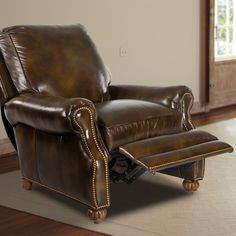 This quality-crafted recliner from Hancock u0026 Moore is covered in luxurious antiqued leather! Home furniture & Bernhardt