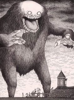 Edward Gorey is one of my favorite artists. What if he had illustrated Lovecraft's stories or created artwork with Lovecraftian themes? The art of John Kenn Mortensen might be the result. Monster Art, Creepy Monster, Monster Drawing, Scary Monsters, Edward Gorey, Arte Horror, Horror Art, Don Kenn, The Babadook