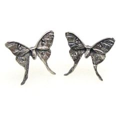 Tiny Luna Moth Stud Earrings by nedwards on Etsy https://www.etsy.com/listing/119127257/tiny-luna-moth-stud-earrings