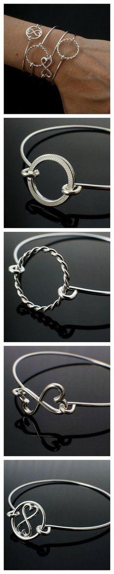 Sterling Silver Bangle Bracelets by unkamengifts on Etsy