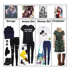 """""""People part 4"""" by wolfgirl-12 ❤ liked on Polyvore featuring Miss Selfridge, Maison Michel, Converse, Markus Lupfer, River Island, Disney, Disney Couture and Bandolino"""