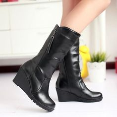 Womens Mid Calf High Wedge Heel Pleated Winter Boots Zip Shoes Us 4-10.5 Classic
