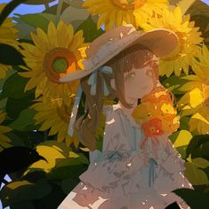 Anime picture original moca long hair single blush looking at viewer brown hair fringe twintails green eyes sky holding payot upper body outdoors summer girl dress bow flower (flowers) 507953 en Art And Illustration, Character Illustration, Cartoon Kunst, Cartoon Art, Anime Style, Anime Art Girl, Manga Art, Pretty Art, Cute Art