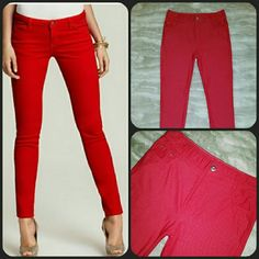 BOGONWOT Sexy Red Stretchy Jeggings Lg. New without tags sexy red ankle length jeggings. Very stretchy, good quality with 2 back pockets and 3 front pockets. Decorative front button with sparkly rhinestone in the middle. See last picture. The studs on the pockets also have little rhinestones. These are brand new this season. I just bought them from another closet but are a bit to big. They are a size large but fit like a 10 to 12. Closer to 12. Any questions please ask. No trade. Offer $3…