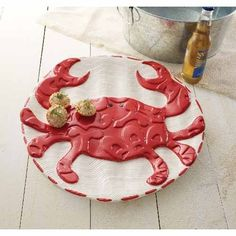 Handpainted Crab Ceramic Circle Platter