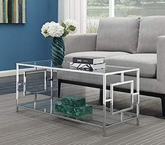 Looking for Convenience Concepts Town Square Chrome Coffee Table, Clear Glass / Chrome Frame ? Check out our picks for the Convenience Concepts Town Square Chrome Coffee Table, Clear Glass / Chrome Frame from the popular stores - all in one. Square Glass Coffee Table, Coffee Table With Shelf, Modern Coffee Tables, Living Room Furniture, Living Room Decor, Furniture 123, House Furniture, Steel Furniture, Table Furniture