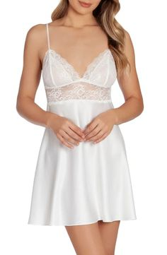 Sheer lace shows off lovely skin and shapely curves in this cupped chemise that's elegantly finished with a matte-satin skirt. Style Name:In Bloom By Jonquil Katrina Satin & Lace Chemise (Nordstrom Exclusive). Style Number: Available in stores. Lingerie Dress, Pretty Lingerie, Women Lingerie, Mens Cotton Underwear, Men Dress Up, Girly Girl Outfits, Satin Skirt, Night Gown, White Lace