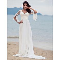 Lanting+Braut+a-line+petite+/+Übergrößen-Hochzeitskleid-Gericht+Zug+V-Ausschnitt+Chiffon+–+EUR+€+137.19