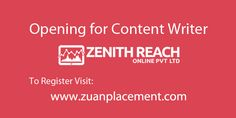 Full Time content writer wanted for Zenith Reach company!! Number of positions available: 2 Job Description: – Should have excellent writing skills, and experience in Content writing /editing. – Good command over UK English & can write content – Vision to identify quality content and new ideas. -Should have a fair understanding of Social Media Marketing. For complete job description & contact details register now @zuanplacement #contentwriter #jobopening #Interview