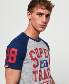 Shop Superdry Mens Track & Field Baseball T-Shirt in Grey Marl/sonic Blast Blue. Buy now with free delivery from the Official Superdry Store. Sonic Blast, Superdry Mens, Baseball T, Great T Shirts, Track And Field, Polo Shirt, Hoodies, Grey, Mens Tops