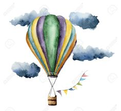 Hand painted vintage air balloons with flags gar. Hand painted vintage air balloons with flags garlands, clouds and r - Watercolor Paintings For Beginners, Watercolor Drawing, Watercolor Cards, Painting & Drawing, Ballon Painting, Ballon Drawing, Hot Air Balloon Drawings, Balloon Illustration, Watercolor Illustration