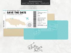 """Announce your upcoming celebration with these unique Boarding Pass Save the  Dates! Perfect for destination weddings, travel-loving couples &  individuals, and other adult or kid celebrations!  Please note, this is a digital file template, not a printed stationery  item.The boarding pass was designed in standard #10 flat card size (9.25""""  x 4""""), fitting in a standard #10 envelope. The design is two-sided,  print-ready and easily editable in Adobe Illustrator. The boarding passes  are…"""