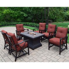 Oakland Living Corporation Cascadian 7-piece Red Lava Rock Gas Firepit Table Chat Set with 6 Cushioned Rocking Chairs (Antique Bronze), Brown, Outdoor Décor (Aluminum)