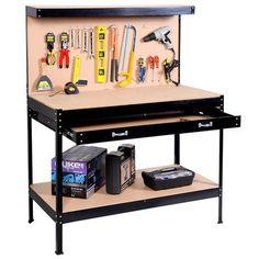 Globe House Products GHP Black Steel Frame Work Bench Tool Storage Workshop Table w Drawers/Peg Boar
