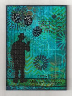 "Umbrella Man without Umbrella by Marjie Kemper, via Flickr -- using the Balzer Designs ""Chevron"" stencil"