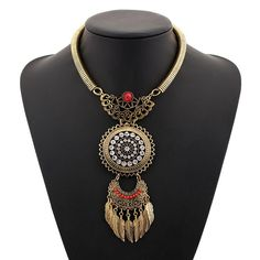 Choker Collar Boho Ethnic Power Maxi Statement Necklace Bohemian Crystal Leaf Long Tassel Necklace Vintage Women Collier