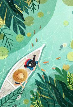 Little White boat is part of Illustration art - Illustration,Fine Arts,Drawing,Paint Tool SAI Art Inspo, Kunst Inspo, Inspiration Art, Illustration Design Graphique, Art Et Illustration, Mountain Illustration, Art Mignon, Illustrator, Guache