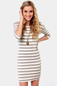 Weekend Getaway Grey and Ivory Striped Dress on Wanelo