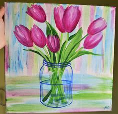 """Spring Tulips"" 12x12 Acrylic on canvas, By Amanda Clarke"