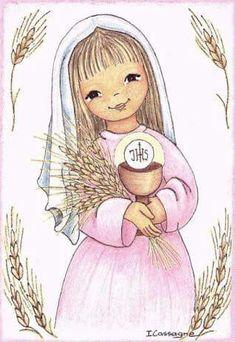 Dibujo religioso nina primera comunion