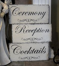 CEREMONY / COCKTAILS / RECEPTION Set of 3 w/ by thebackporchshoppe, $59.95