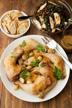 Braised Chicken with 40 Cloves of Garlic. This is the 2nd version of this that I've tried & it will be my last. Flavorful, easy, & it was fancy enough that I looked like a gourmet. I skipped the garlic gravy portion & just smeared several cloves directly on the chicken & slicer bread. Yum yum yum yum YUM!