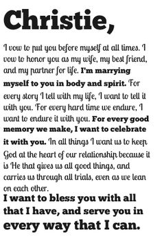 Wedding Vows Typography Awesome It Is Even Personalized For Me