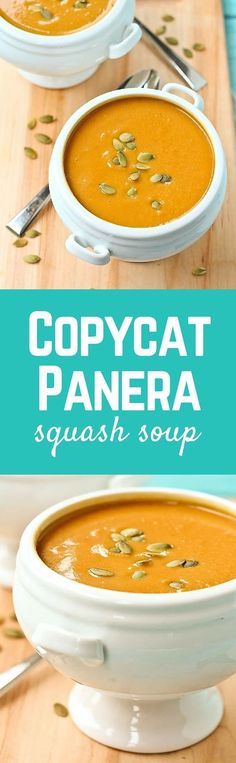 This Copycat Panera Bread Squash Soup tastes just like the original, but I made it a bit healthier! Get the easy fall soup recipe on RachelCooks! Panera Bread, Copycat Panera Squash Soup Recipe, Squash Recipe, Panera Butternut Squash Soup, Vegetarian Recipes, Cooking Recipes, Healthy Recipes, Crockpot Recipes, Healthy Soup