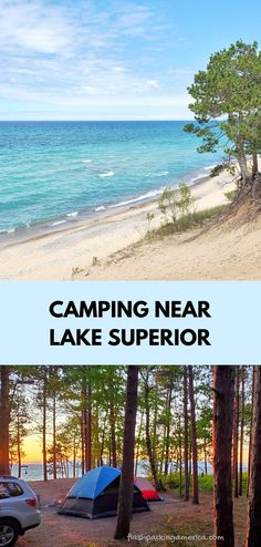 see the post for more! michigan camping ideas. tent camping. rv camping. campground near lake superior beach, great lakes camping. michigan road trip, summer vacation. national lakeshore park vacation ideas. us outdoor travel destinations. vacation spots, places in the US. michigan things to do upper peninsula up north. Camping Michigan, Lake Camping, Michigan Vacations, Michigan Travel, Tent Camping, Vacation Places, Vacation Ideas, Vacation Spots, Pictured Rocks Camping