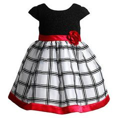 Sparkling metal fiber accents this sweet cap-sleeve dress, while a classic windowpane pattern and shining ribbon hem add elegance. Kids Frocks, Frocks For Girls, Little Dresses, Little Girl Dresses, Mom Dress, Baby Dress, Frocks And Gowns, Frock Patterns, Kohls Dresses