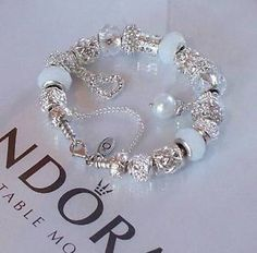 Authentic Pandora Silver Charm Bracelet Snow White Wedding Crystal Anniversary