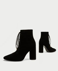 LACE-UP VELVET HIGH HEEL ANKLE BOOTS from Zara
