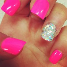 hot pink neon glitter accent nail